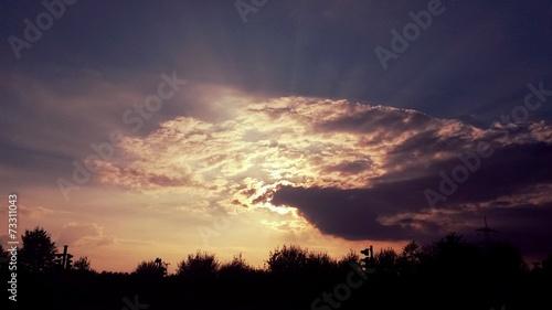 canvas print picture Sonne hinter Wolken