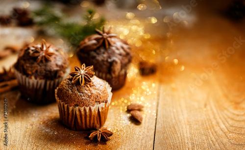 Fototapeta Christmas cinnamon muffins