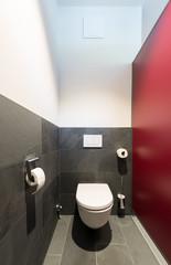 modern toilet bowl with dark gray slate tiles