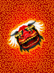 Lion mask background over red pattern