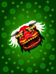 Lion mask background over green pattern