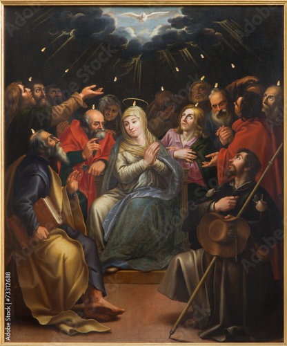 Leinwandbild Motiv Mechelene - The paint og Pentecost scene in Janskerk