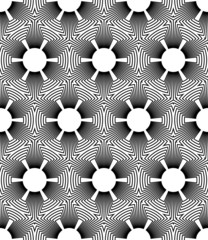Black and white geometric seamless pattern with line and flower