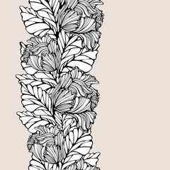 Contrast Vertical Seamless Pattern With Leaves And Tulips