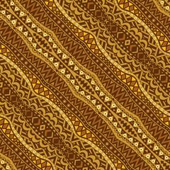 Golden Diagonal Ethnic Seamless Pattern