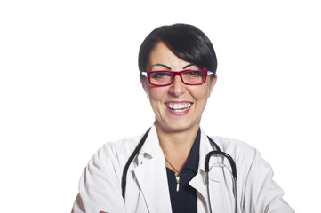 Portrait of smiling female doctor on the white