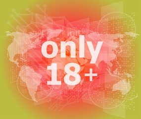 socia concept: words only 18 marketing on digital screen
