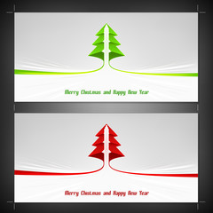 bright wide format christmas card template with ribbon stripe