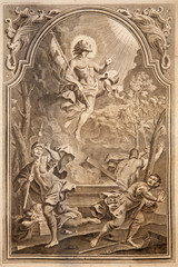 Resurrection. Lithography in Missale romanum  in year 1768.