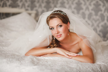 Beautiful bride wedding makeup hairstyle
