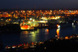 canvas print picture - Hamburger Hafen bei Nacht