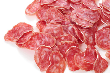 slices of fuet, spanish cured sausage typical of Catalonia