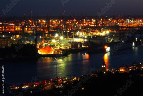 canvas print picture Hamburger Hafen bei Nacht