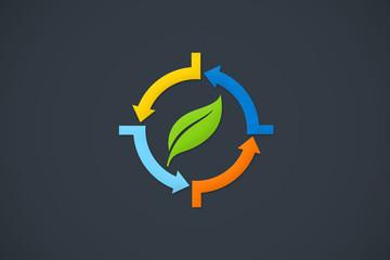 recycle arrow leaf ecology design logo