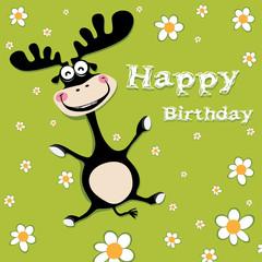 Happy Birthday deer and flowers