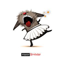 Happy Birthday smile dancer cat with daisies