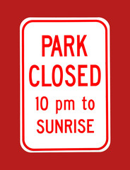 Park Closed Sign