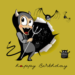 Happy Birthday smile Devil monster