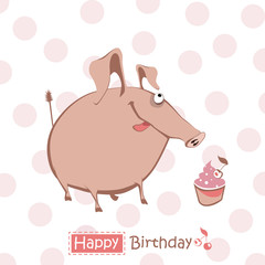 Happy Birthday smile piggy