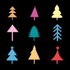 Set of different Christmas trees signs