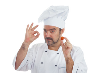 Playful Chef with  tomato