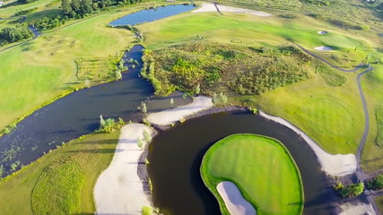 Aerial footage of golf course