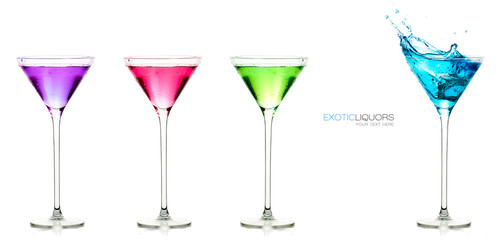 Set of colorful exotic liquors with Sample Text