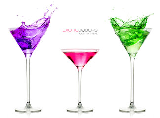 Stemmed Cocktail Glasses. Set of exotic liquors with Sample Text