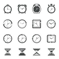Clock icon black set