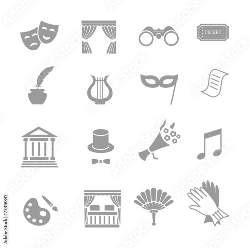 Theater acting  icons set black vector - 73316841