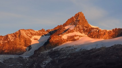 Zinalrothorn at sunrise, morning scene in Zermatt
