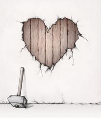 Herzförmiger Wanddurchbruch mit Holzbrettern