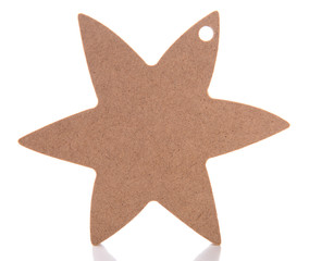 Wooden toy star for hand made decor, isolated on white