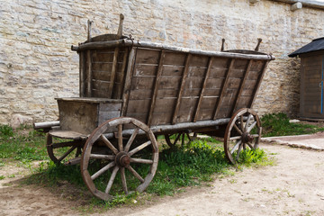 Empty and old wooden cart