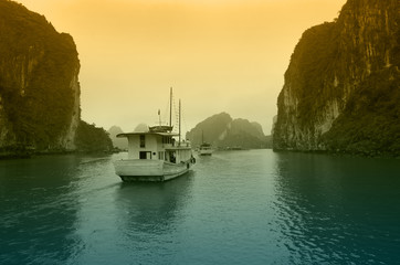 Halong bay on sunset