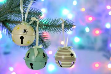 Beautiful Christmas tree with toys on shiny background