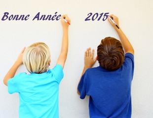 """""""bonne année 2015"""" écriture d'enfants"""