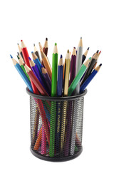 various colored pencils standing in grilled pencil cup isolated