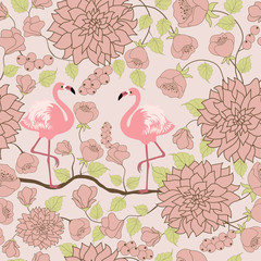 Floral pattern with pair of flamingos