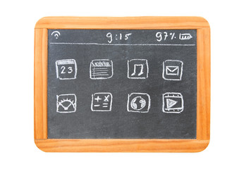 Modern tablet computer drawn on a chalkboard tablet