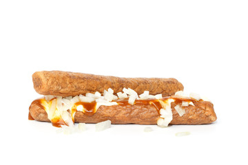 Two frikandellen speciaal, a Dutch fast food snack