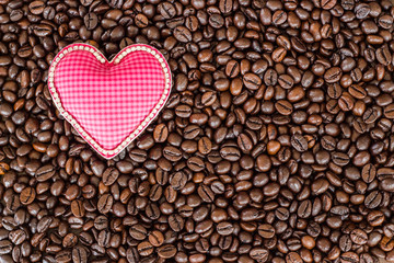 heart love symbol on coffee beans