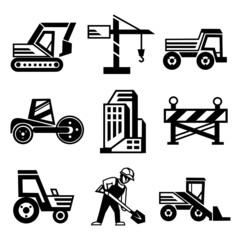 Vector Construction Icons Set Isolated on White Background