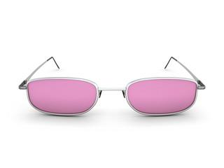 Pink glasses.