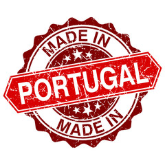 made in Portugal red stamp isolated on white background