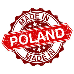 made in Poland red stamp isolated on white background
