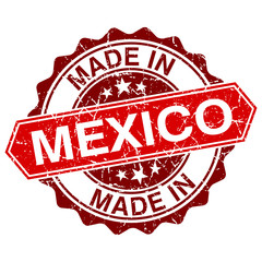 made in Mexico red stamp isolated on white background