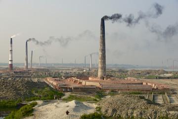 Polluting air brick factory pipes at Dhakka, Bangladesh.