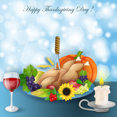 illustration of turkey, fruits and wine in Thanksgiving dinner