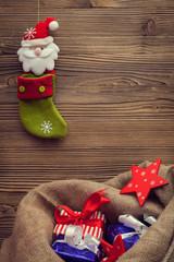 christmas stocking and sack with gifts